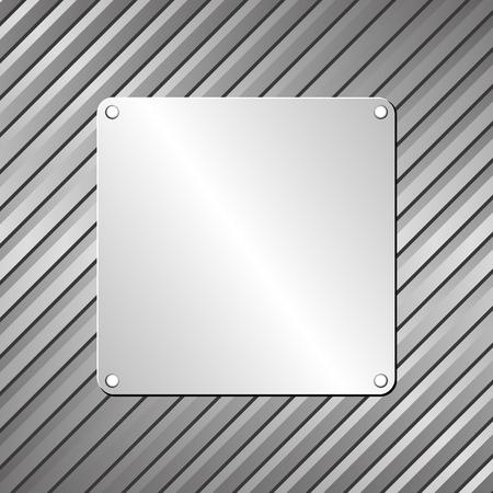 iron and steel: metallic plaque on textured background Illustration