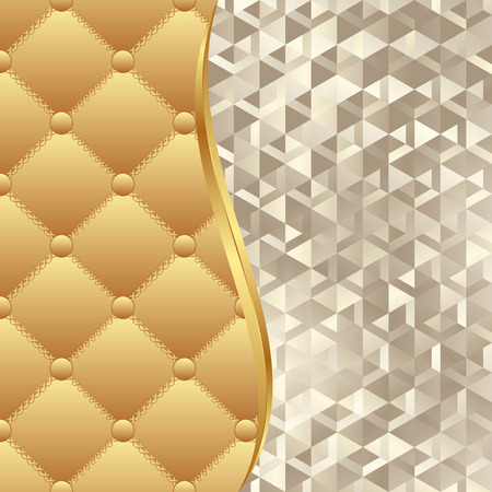 quilted: background with quilted fabric and golden texture