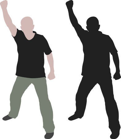 raised hand: isolated man with his fist raised Illustration