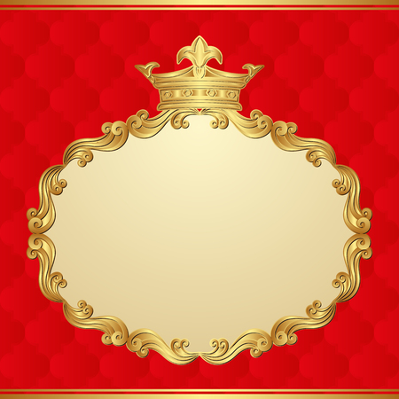 kingly: antique background with golden frame and crown