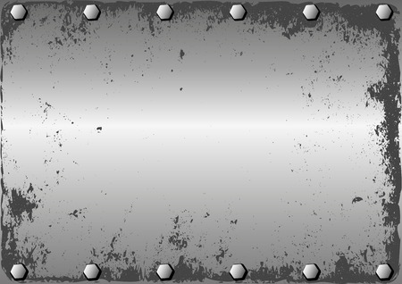 grunge metallic background with bolts Illustration