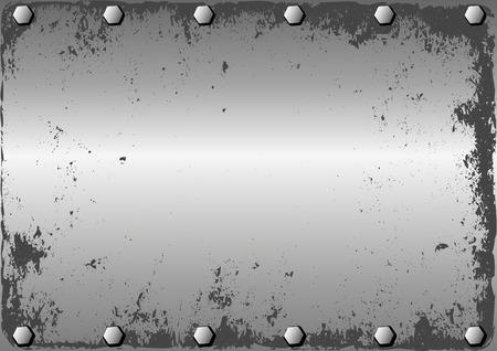 grunge metallic background with bolts Illustration