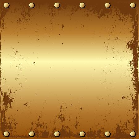 metal sheet: grunge golden background with bolts Illustration