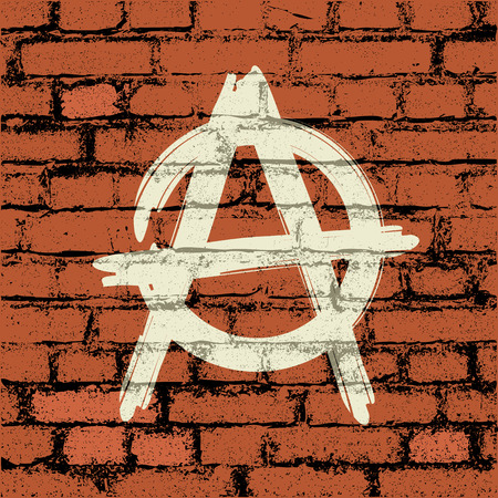 filthy: anarchy sign on brick wall