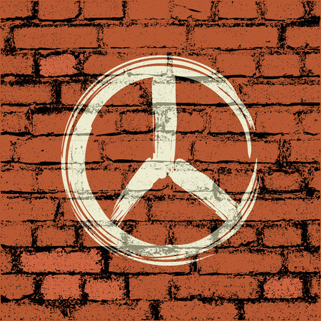 filthy: peace symbol on brick wall