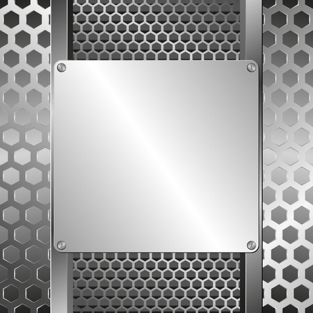 to grate: grate background and steel plaque