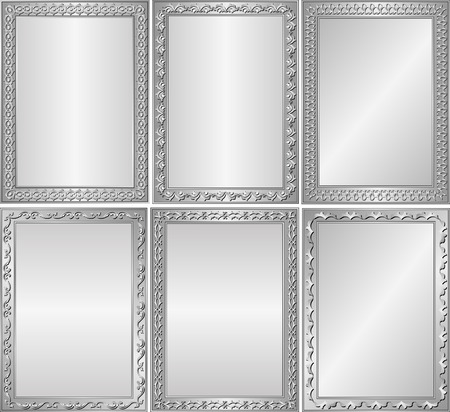 decorative frames: set of isolated silver backgrounds with decorative frames Illustration