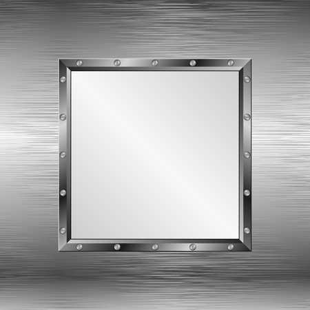 steel sheet: steel texture with metal frame Illustration