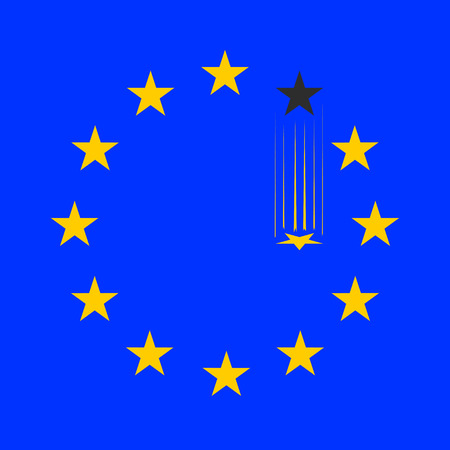 disintegration: flag of European Union without a single star