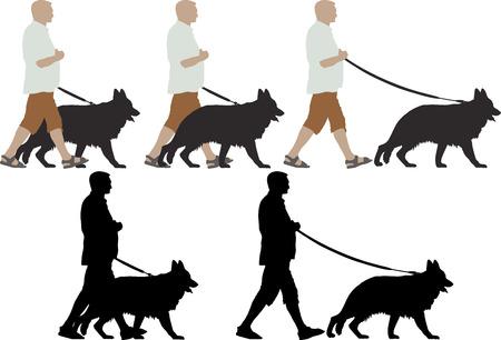gefesselt: isoliert Mann mit seinem Deutsch Schäferhund zu Fuß Illustration