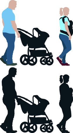 stroll: silhouette of family with baby stroller