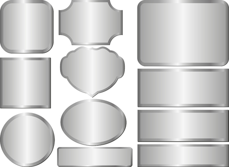 metalic design: set of isolated steel plaques
