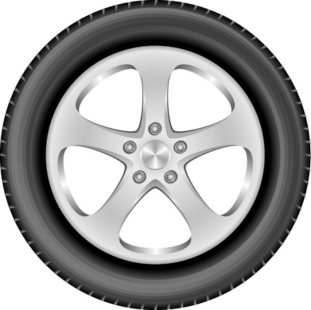 isolated car wheel with aluminum rim and tire