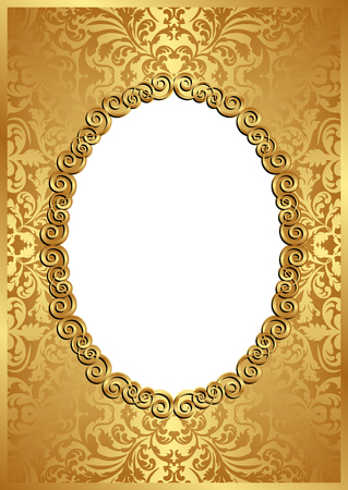 background picture: golden background with frame and transparent space insert for picture