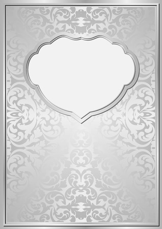 silver frame: silver background with ornaments and frame