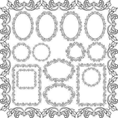 un conjunto de marcos decorativos - elementos de diseño