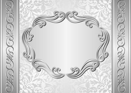 silver frame: silver background with antique frame Illustration