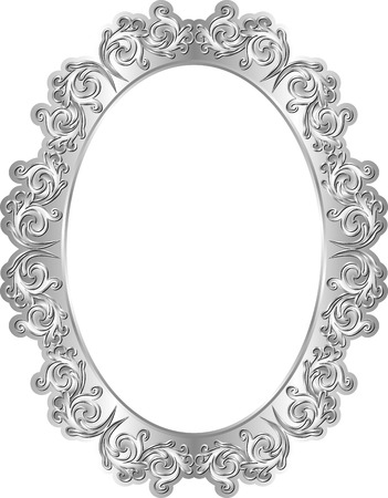 silver frame: isolated silver frame with vintage ornaments