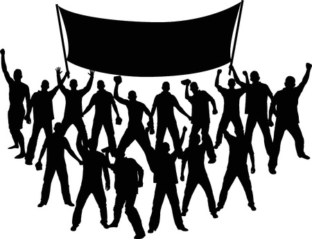 manifest: silhouettes of demonstrators with banner