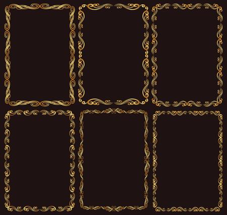rectangular: set of golden frames