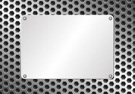 grillage: metal plaque on grate background