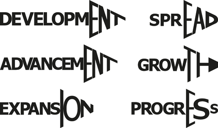 words - development, growth, expansion, progress,  spread, advancement in shape arrow