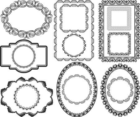 rectangular: set of isolated antique frames Illustration