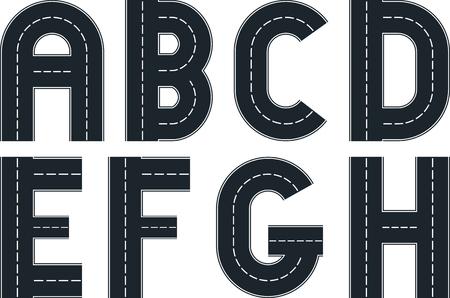 tar: font in shape of road Illustration