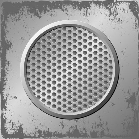 steel plate: grunge metal beckground and round banner