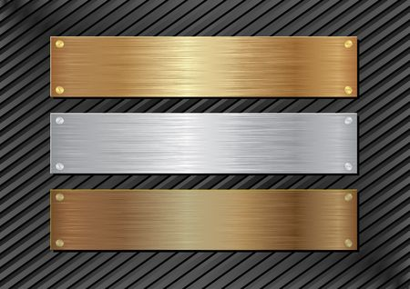 metallic background: three metal plaques on black background