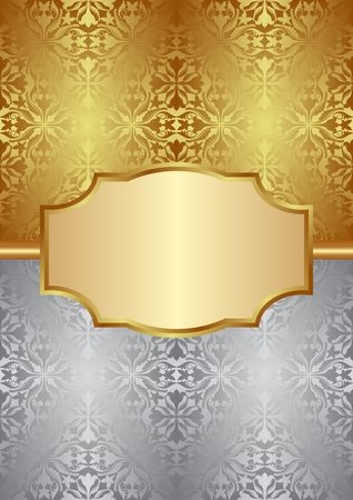 silver frame: gold and silver background with old-fashioned patterns and elegant frame Illustration