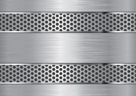 Sfondo in alluminio con bordi cromati in griglia.