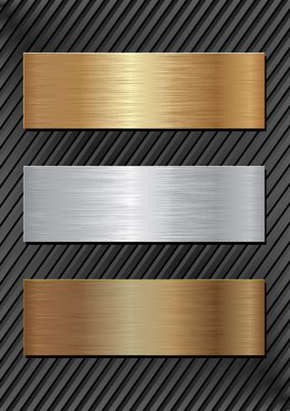 silver texture: three metal plaques on black background