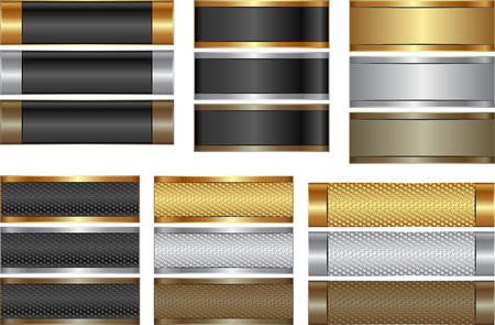silver texture: set of isolated banners golde, silver and brown
