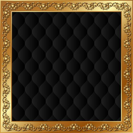 Black background with golden frame Illustration