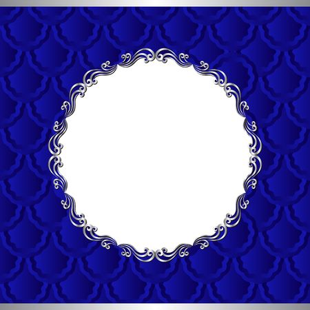 fresco: background with old-fashioned patterns and silver frame - transparent space insert