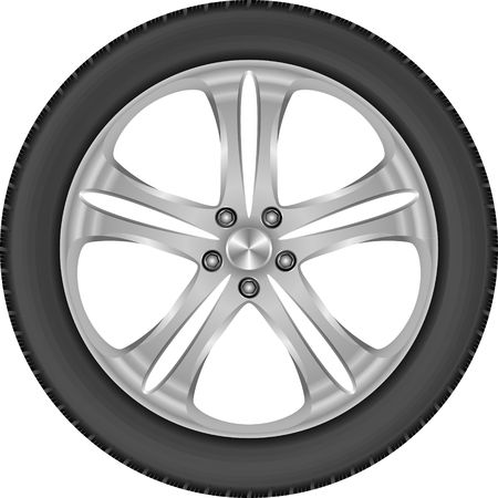 traction: isolated car wheel with aluminum rim and tire