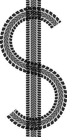 tire track in shape dollar sign Illustration