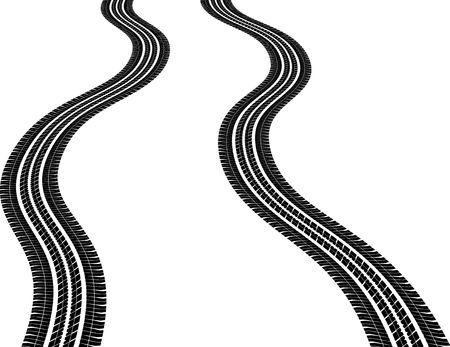 isolated wavy tire tracks