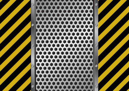 danger sign and metal grate background
