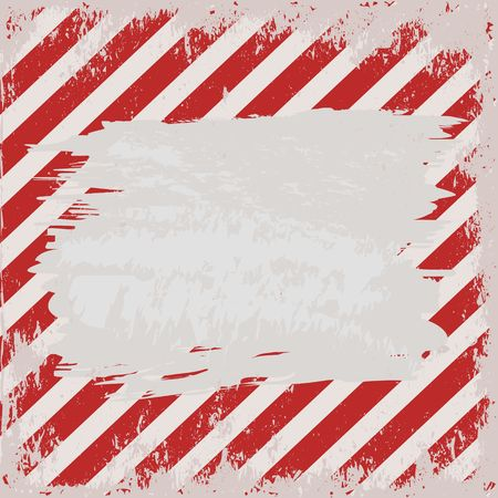 Grunge warning background with red and white stripes Illustration