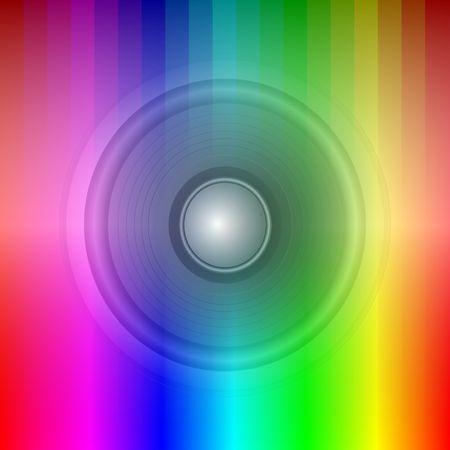 Speaker on rainbow background