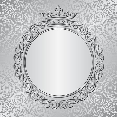 silver background with royal frame