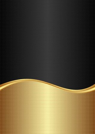 golden and black textured background with wavy divider Illustration