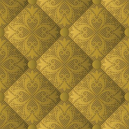 quilted fabric with vintage ornament, seamless pattern