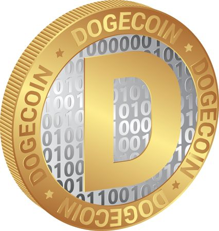 isolated coin of  cryptocurrency Dogecoin Illustration