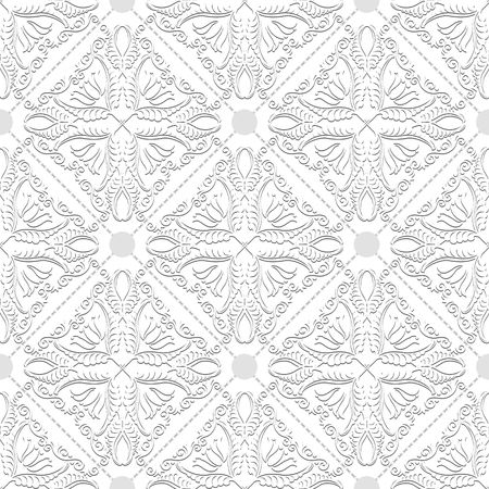 white background with with vintage ornaments, seamless pattern