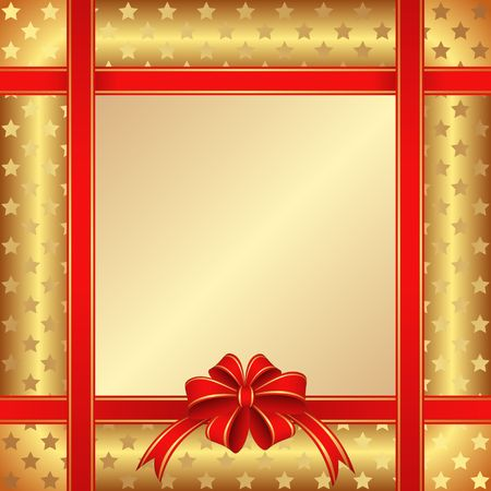 golden background with red bow