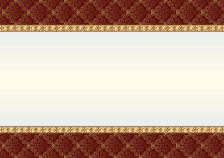 Decorative background with quilted fabric and golden ornaments.