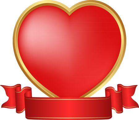 Isolated heart with ribbon illustration. Ilustracja